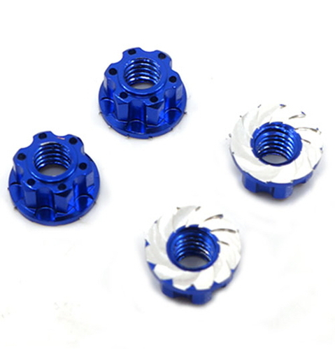 (#YA-0448DB) 4mm Aluminium Wheel Flange Lock Nut 4pcs For RC Car Dark Blue