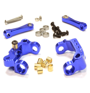 [C25987BLUE] Billet Machined Caster Blocks & Upper Links for Tamiya Scale Off-Road CC01