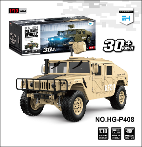 RC Toy HG P408 1/10 Humvee 4WD US Military Crawler Truck ARTR 30+km/h Yellow [사운드,LED포함 / 송수신지는제외]