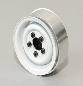 [ Z-W0076 ]1.55 Landies Vintage Stamped Steel Beadlock Wheels (White)