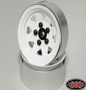 [ Z-Q0033]5 Lug Wagon 1.9 Single Steel Stamped Beadlock Wheels (White)