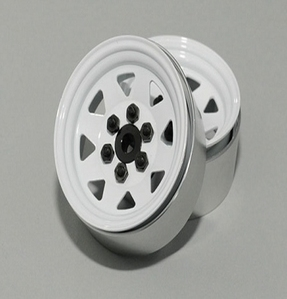 [Z-W0128 ]6 Lug Wagon 1.9 Steel Stamped Beadlock Wheels (White)[한대분 4개포함]