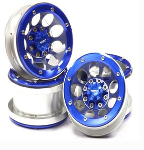 2.2 Size Billet Machined Alloy 9H Beadlock Wheel (4) for Scale Off-Road Crawler C24961BLUE