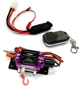 Billet Machined T3 Realistic Mega Winch w/Wireless Module for 1/10 Scale Crawler C24888PURPLE
