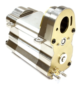 Billet Machined Gearbox w/ Complete Transmission for Custom 1/14 Semi-Tractor C25746SILVERGUN