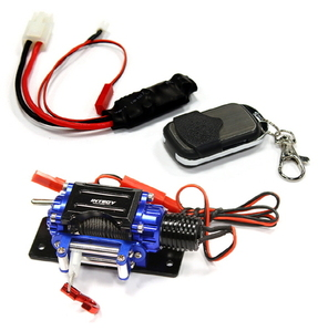[C24888BLUE] Billet Machined T3 Realistic Mega Winch w/Wireless Module for 1/10 Scale Crawler