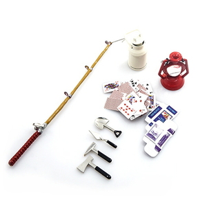 (#YA-0364) 1/10 RC Crawler Camping Accessory Combo w/ Oil Lamp, Fishing Rod, Poker Card, Milk Can, Tools Set