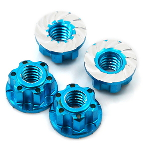 (#YA-0448LB) 4mm Aluminium Wheel Flange Lock Nut 4pcs For RC Car Blue