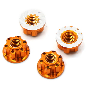 (#YA-0448OR) 4mm Aluminium Wheel Flange Lock Nut 4pcs For RC Car Orange