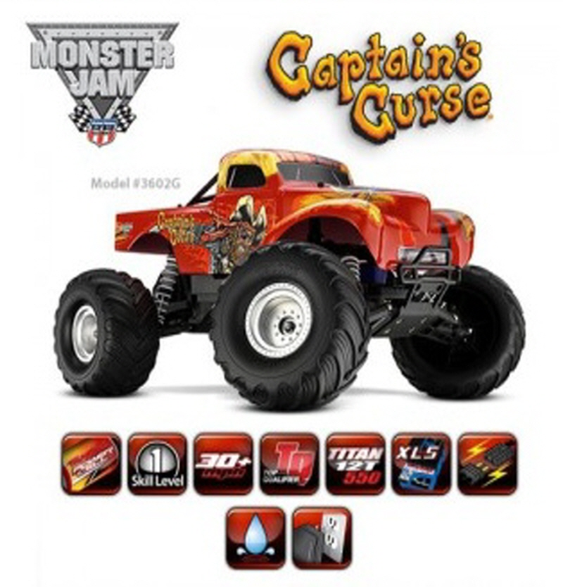 CB3602G 1/10 Monster Jam 'Captain's Curse' 2WD Monster Truck w/ AM Radio, XL-5 ESC