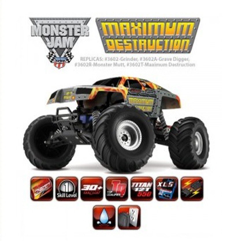 CB3602T 1/10 Monster Jam 'Maximum Destruction' 2WD Monster Truck w/ AM Radio, XL-5 ESC