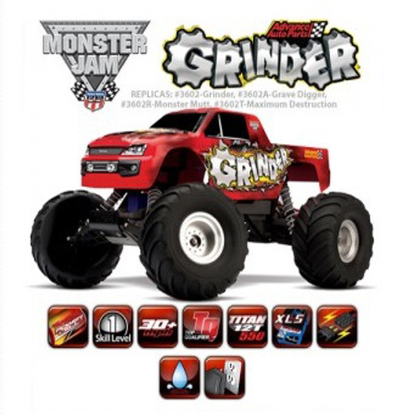 CB3602 1/10 Monster Jam 'Advance Auto Parts Grinder' 2WD Monster Truck w/ AM Radio, XL-5 ESC