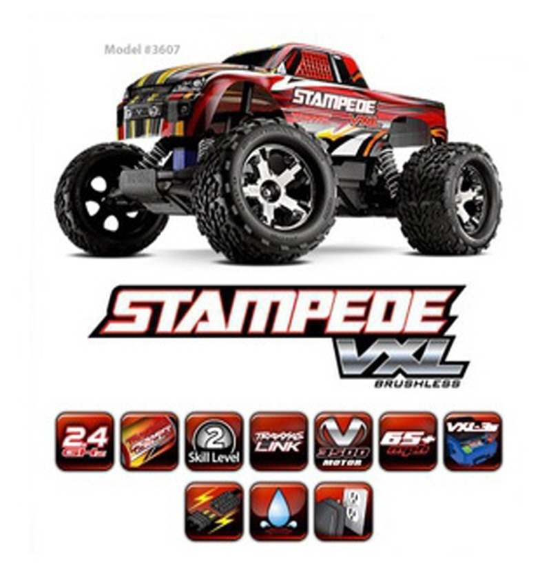 CB3607 1/10 Monster Truck Stampede VXL / 2.4GHz (7셀 NiMH 3000mAh 배터리, 충전기 포함)