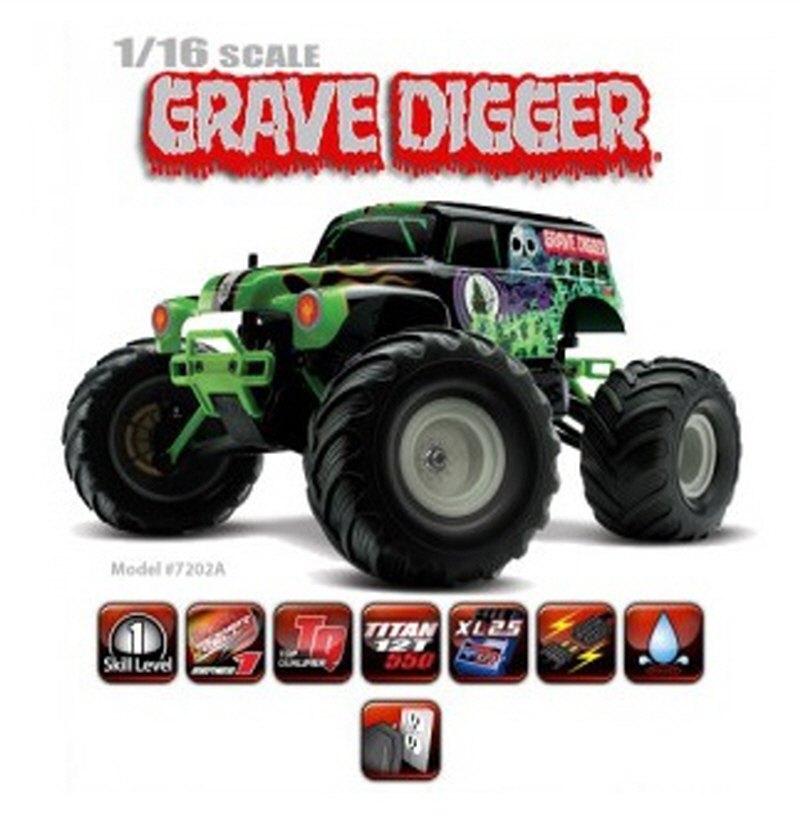CB7202A 1/16 Grave Digger 2WD Monster Jam - XL-2.5, TQ™ AM, Titan® 12T 550
